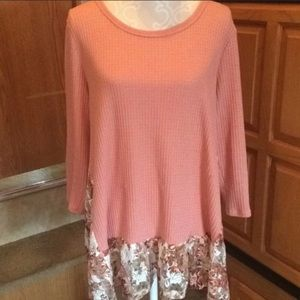 Oddy Pink Waffle Knit Floral Lace Trim Blouse